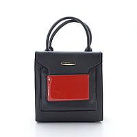 Женская красная сумка конверт черная с красным