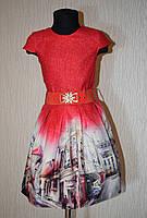 """Стильное платье для девочки 128-152 рост. Красный. """"Cihan"""" Турция."""