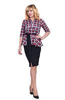 Женский костюм  Нелли большого размера удобный, деловой, в клетку размеров 42, 44, 46, 48,50, 52,54