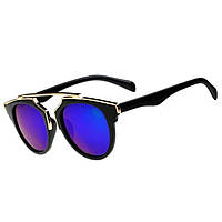 Стильные солнцезащитные очки, цвет линз синий