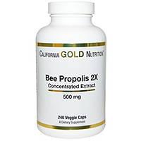 California Gold Nutrition, Пчелиный прополис 2X, 500 мг, 240 овощных капсул