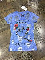 Женская футболка стильная с черепами
