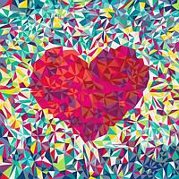 """Акриловий живопис за номерами """"Серце поп-арт"""" полотно 40*40 см без коробки ТМ Ідейка"""
