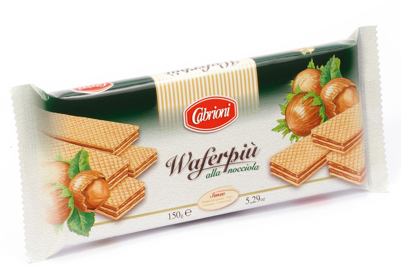 Вафли Cabrioni Waferpiu alla Nocciola с ореховой начинкой, 150 грамм