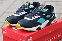Мужские кроссовки Puma Trinomic, пресс кожа, синие с голубым/ кроссовки для зала мужские Пума Триномик