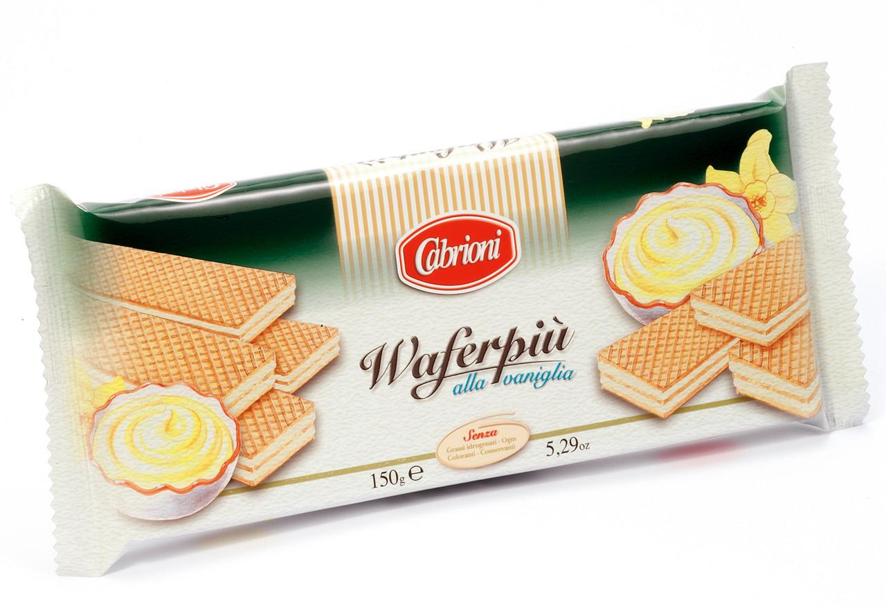 Вафлі Cabrioni Waferpiu alla Vaniglia з ванільною начинкою, 150 грам