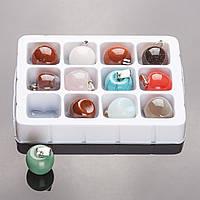"""Набор кулонов  """"Молодильные Яблочки"""" из 12 шт нат. камней 1,7х2см"""