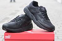 Мужские кроссовки Puma Trinomic, пресс кожа, черные/ кроссовки для зала мужские Пума Триномик, модные