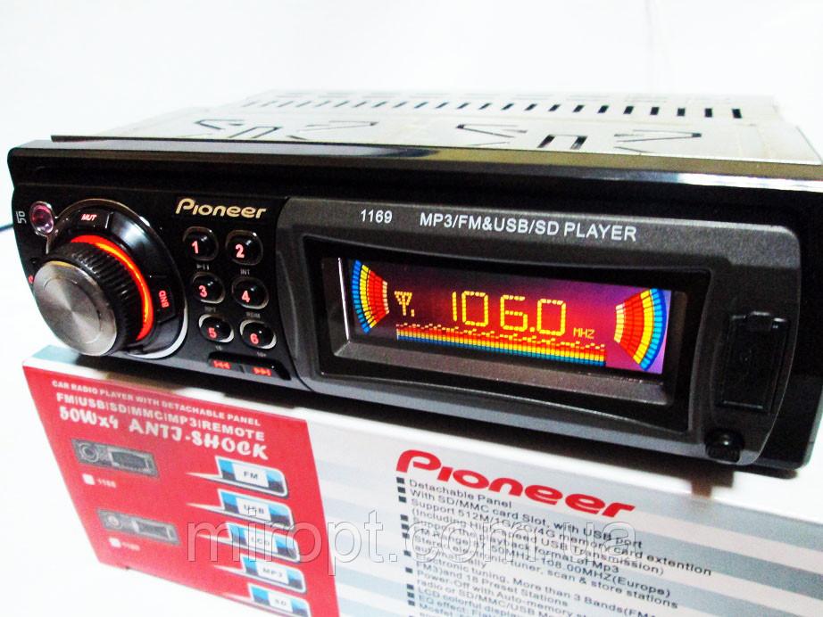 Автомагнитола Pioneer 1169 - USB+SD+AUX+FM (4x50W)