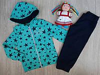 Спортивный костюм для девочки бирюзовый в звезды р.98-116