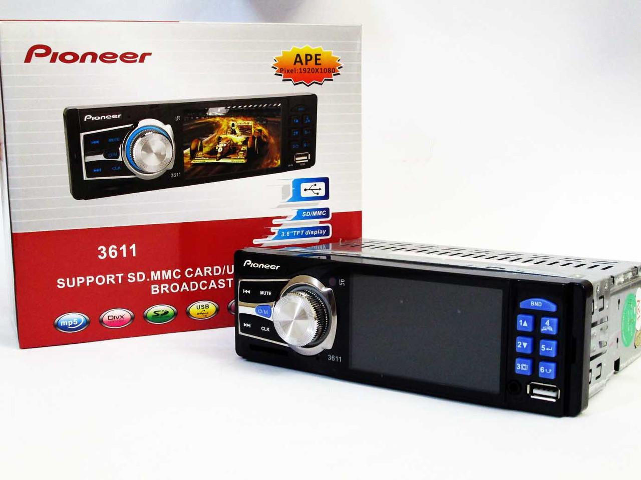 """Автомагнітола Pioneer 3611 Blue - 3,6"""" TFT Video екран -Divx/mp4/mp3 USB+SD"""