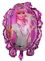 Фольгированный воздушный шарик зеркало Барби 70 х 59 см.
