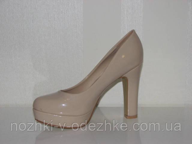 8fb6738fb4a2 Женские лаковые бежевые туфли на устойчивом высоком каблуке 35 - 40, ...