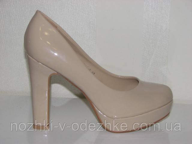 a8940a0700f4 Женские лаковые бежевые туфли на устойчивом высоком каблуке 35 - 40 ...