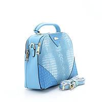 Стильная женская сумка под крокодила голубая