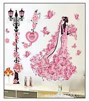 """Интерьерная наклейка на стену 3D """"Невеста в цветах"""""""