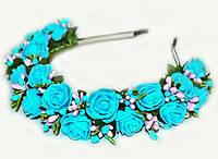 Обруч на голову с цветами Розы бирюза