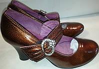 Туфли женские натуральная кожа р38 ALAMO 011 коричневые TONI