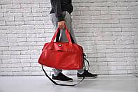 Спортивная сумка найк (Nike), красная из эко-кожи