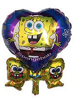 Фольгированный воздушный шарик сердце цветок губка Боб  50 х 63 см.