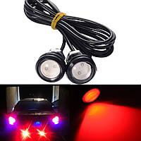 Красные врезные светодиоды (Орлиный глаз 18мм.), корпус черный - LED DRL ДХО подсветка салона