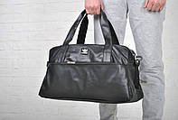 Спортивная сумка адидас (Adidas) черная эко-кожа