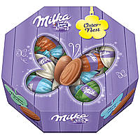 Шоколадные яички Milka Oster Nest с шоколадной начинкой в коробке, 144 г.