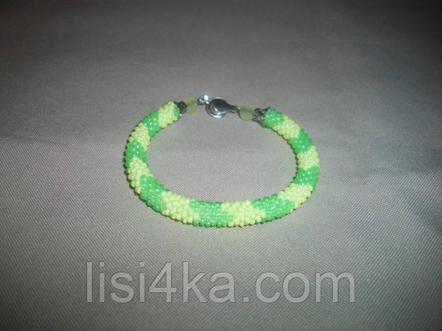 Узорный браслет-жгут из чешского желто-салатовый люминисцентный
