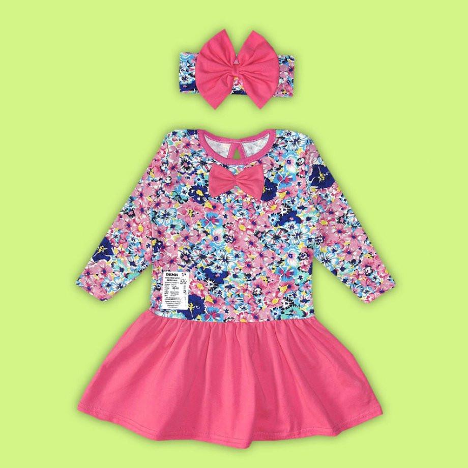 Детское трикотажное платье Цветочек розовый (80 см)