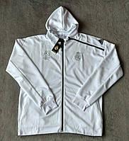 Олимпийка футбольная Реал Мадрид белая с капюшоном