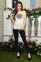 Женская летняя блузка без рукавов с голубым рисунком