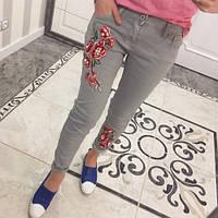 Джинсы женские стильные с вышивкой 06 Турция,магазин одежды
