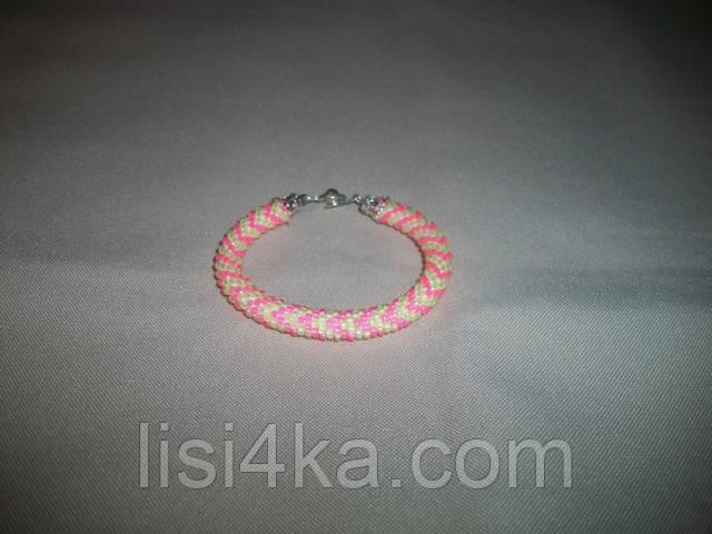 Узорный браслет-жгут из чешского желто-розовый люминисцентный