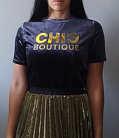 Женская бархатная футболка CHIC синяя