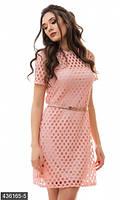 Женское комбинированное платье приталенного фасона под пояс с коротким рукавом вязка костюмный креп