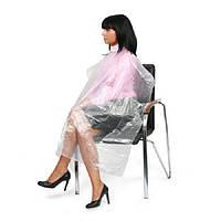 Пеньюар одноразовый для парикмахерских работ, полиэтилен 100 шт/уп.