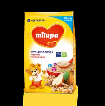 Каша Milupa сухая молочная мультизлаковая с сухариками и грушей 210 гр.с 10 мес