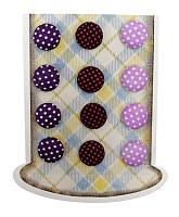 """Набор пуговиц из ткани самоклеящихся """"Точка"""", фиолетовые оттенки, 16мм, 12шт/уп, ROSA Talent, 953374"""