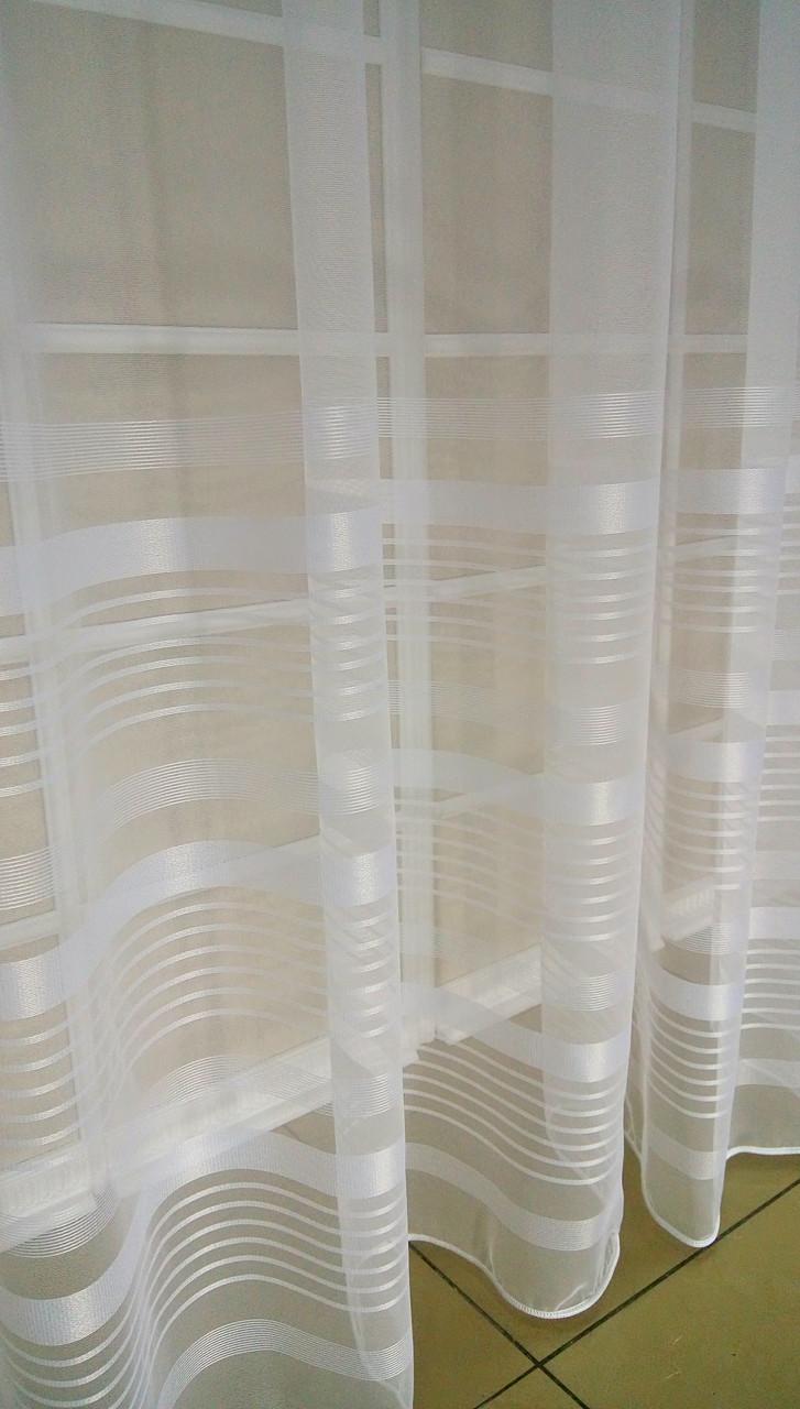 Тюль Полоска Белый, микросетка с вышивкой