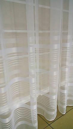 Тюль Полоска Белый, микросетка с вышивкой, фото 2