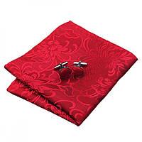 JASON&VOGUE Платок красный без запонок шелковый жаккрад в цветок