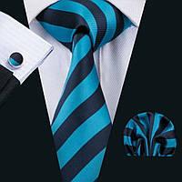 Подарочный мужской галстук темно-бирюзовый в полоску JASON&VOGUE