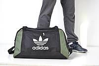 Спортивная сумка Adidas черная с зелеными вставками (дорожная сумка) (реплика)