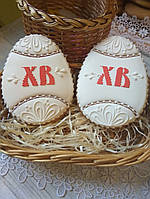"""Пасхальный пряник яйцо """"ХВ"""" (пряники в подарок к Пасхе)"""
