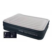 Intex 64136/67738 (152х203х42 см.) + 220V. Надувная высокая Twin Deluxe Pillow Rest двуспальная.