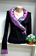 Трикотажная черная  блузка запах, фото 1