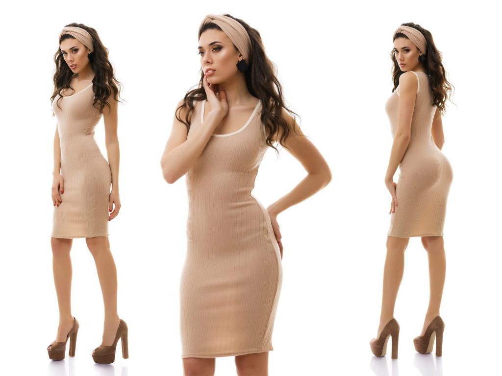 Соблазнительное облегающее платье в рубчик с чалмой повязкой для волос в комплекте