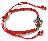 Браслет с хамсой плетеный с красной нитью от сглаза