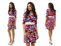 Скромное коттоновое платье с рисунков цветов с широким поясом резинкой в комплекте