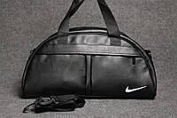Сумка для спорта Найк (Nike) эко-кожа, черная